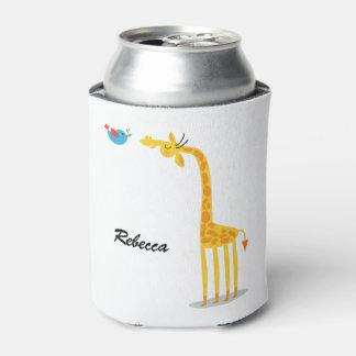 Cute cartoon giraffe and bird can cooler