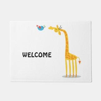 Cute cartoon giraffe and bird doormat
