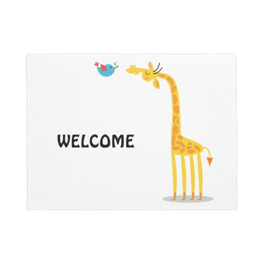 Cute cartoon giraffe and bird doormat