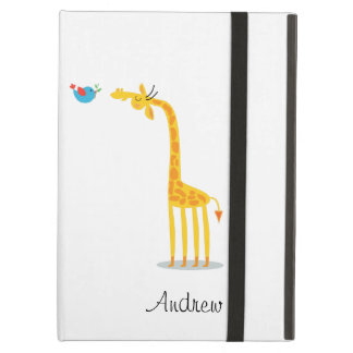 Cute cartoon giraffe and bird iPad air cover