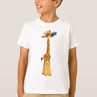 Cute Cartoon Giraffe and Flower Children T-Shirt