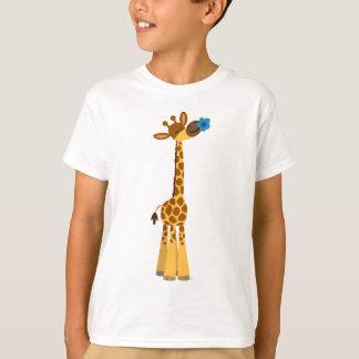 Cute Cartoon Giraffe and Flower Children T-Shirt