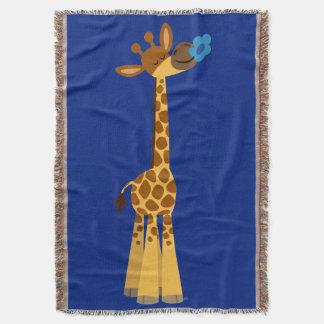 Cute Cartoon Giraffe And Flower Throw Blanket