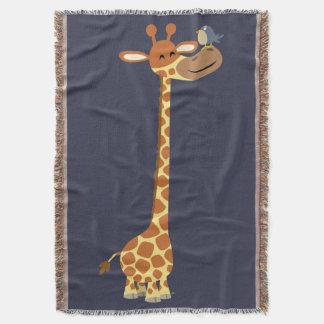 Cute Cartoon Giraffe And Friend Throw Blanket