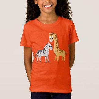 Cute Cartoon Giraffe and Zebra African Safari T-Shirt
