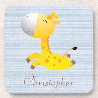 Cute Cartoon Giraffe Blue Personalized Beverage Coaster