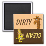 Cute Cartoon Giraffe Dirty Clean Dishwasher Magnet