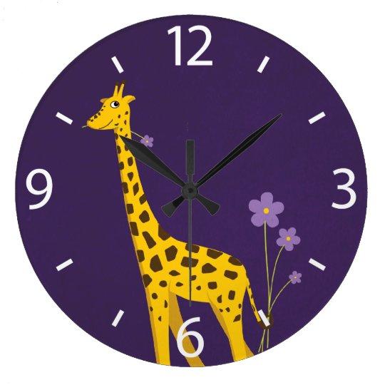 Cute Cartoon Giraffe Flowers Purple Large Clock
