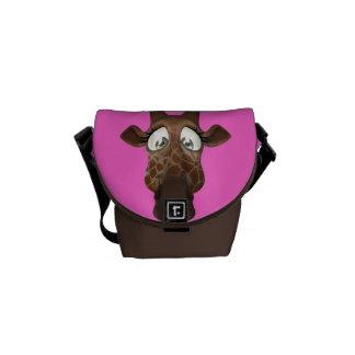 Cute Cartoon Giraffe Pink & Brown Messenger Bags