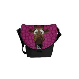 Cute Cartoon Giraffe & Pink Faux Fur Pattern Commuter Bag