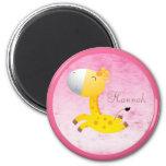 Cute Cartoon Giraffe Pink Personalised 6 Cm Round Magnet