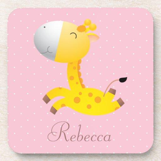 Cute Cartoon Giraffe Pretty Pink Personalized Drink Coaster