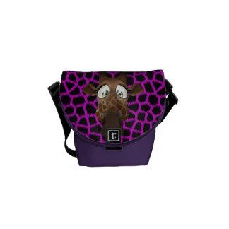 Cute Cartoon Giraffe & Purple Faux Fur Pattern Courier Bag