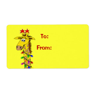 Cute Cartoon Giraffe Xmas Gift Tag Labels Template