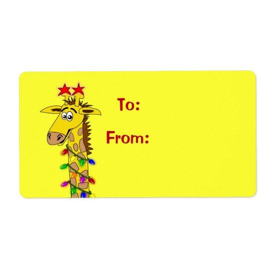 Cute Cartoon Giraffe Xmas Gift Tag Labels Template