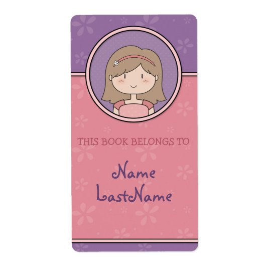 Cute Cartoon Girl Custom Bookplates / Ex Libris
