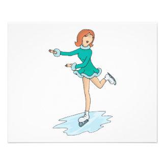 cute cartoon girl figure skating 11.5 cm x 14 cm flyer