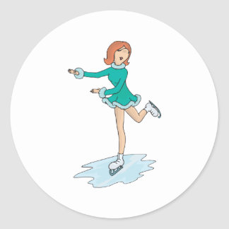 cute cartoon girl figure skating round sticker