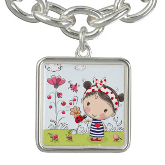 Cute Cartoon Girl with Ladybug in Garden Scene