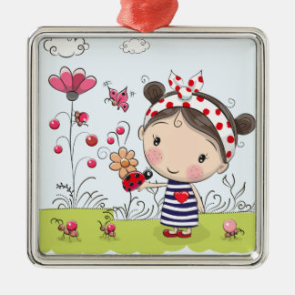 Cute Cartoon Girl with Ladybug in Garden Scene Christmas Ornament