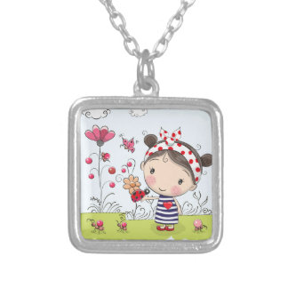 Cute Cartoon Girl with Ladybug in Garden Scene Silver Plated Necklace