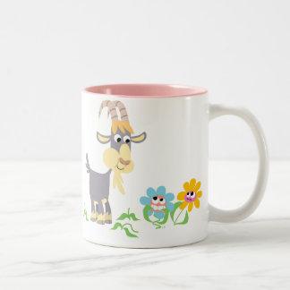 Cute Cartoon Goat and Flowers Mug
