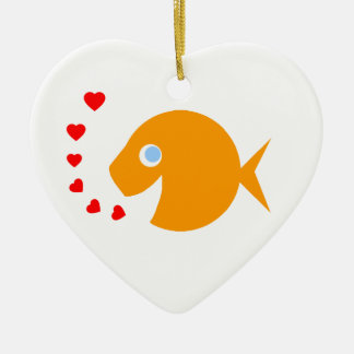 Cute Cartoon Goldfish with Blue Eyes Heart-Shaped Christmas Ornament