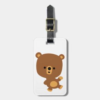 Cute Cartoon 'Good Vibe' Bear Luggage Tag
