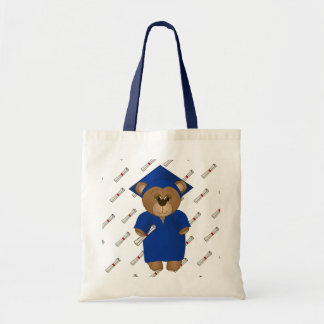 Cute Cartoon Graduate Teddy Bear in Blue Tote Bag