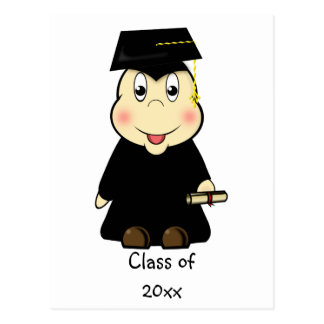 Cute Cartoon Graduate with Mortar Board & Diploma Postcard