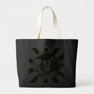 Cute Cartoon Graduating Owl w/Black & Gold Colors Jumbo Tote Bag