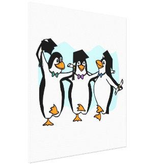 Cute Cartoon Graduating Penguins Stretched Canvas Print