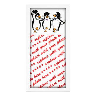 Cute Cartoon Graduating Penguins Customized Photo Card