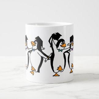 Cute Cartoon Graduating Penguins Jumbo Mug