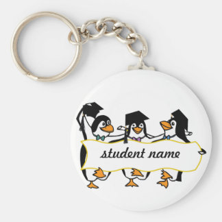 Cute Cartoon Graduating Penguins w/Banner Basic Round Button Key Ring