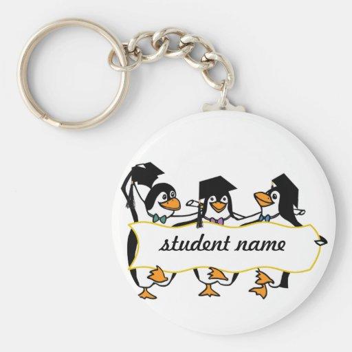 Cute Cartoon Graduating Penguins w/Banner Keychains