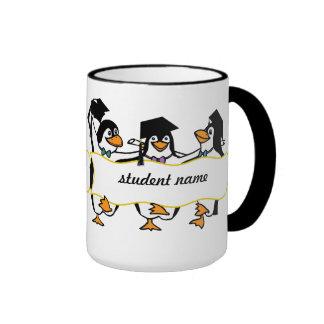 Cute Cartoon Graduating Penguins w/Banner Ringer Mug