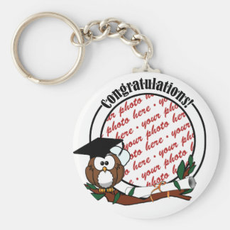 Cute Cartoon Graduation Owl With Cap & Diploma Basic Round Button Key Ring