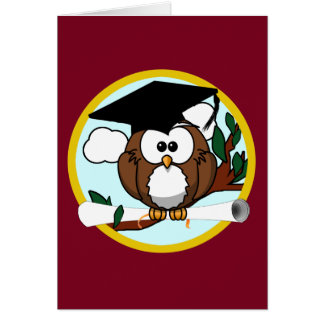 Cute Cartoon Graduation Owl With Cap & Diploma Card