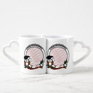 Cute Cartoon Graduation Owl With Cap & Diploma Coffee Mug Set
