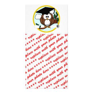 Cute Cartoon Graduation Owl With Cap & Diploma Customized Photo Card
