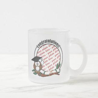 Cute Cartoon Graduation Owl With Cap & Diploma Frosted Glass Mug