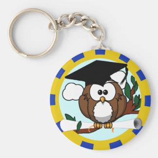 Cute Cartoon Graduation Owl With Cap Diploma Keychains