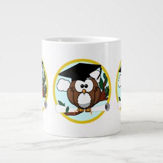Cute Cartoon Graduation Owl With Cap & Diploma Large Coffee Mug
