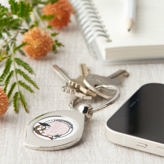 Cute Cartoon Graduation Owl With Cap & Diploma Silver-Colored Swirl Key Ring
