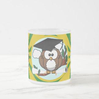 Cute Cartoon Graduation Owl With Cap & Diploma Mugs