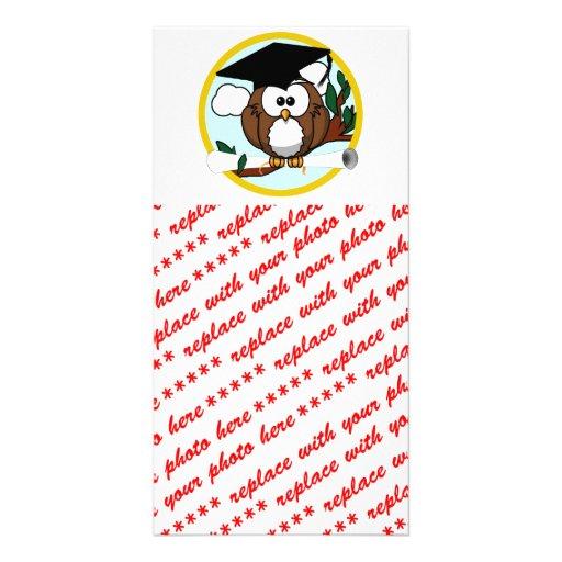 Cute Cartoon Graduation Owl With Cap & Diploma Photo Card