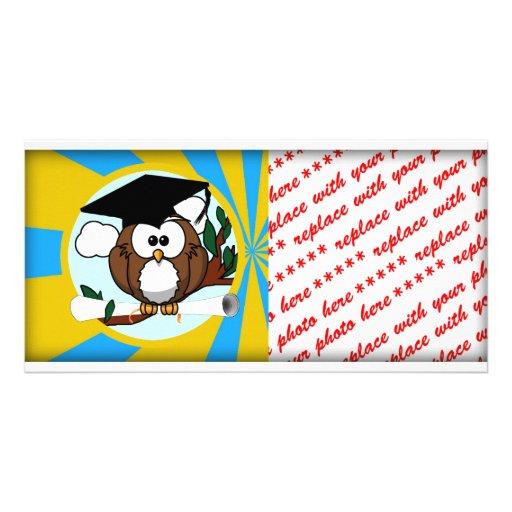 Cute Cartoon Graduation Owl With Cap & Diploma Photo Greeting Card