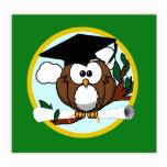 Cute Cartoon Graduation Owl With Cap & Diploma Acrylic Cut Out