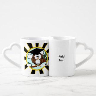 Cute Cartoon Graduation Owl With Cap & Diploma Couple Mugs